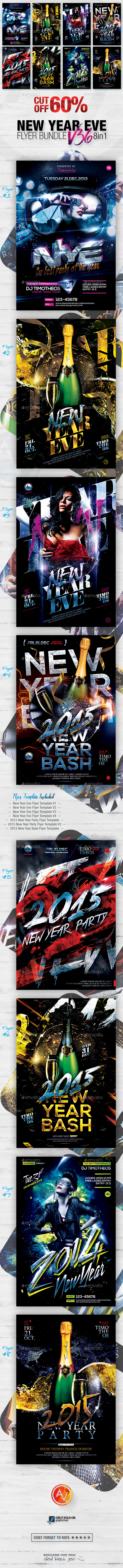 New Year Flyer Bundle Vol36 - 8 in 1 - Clubs & Parties Events