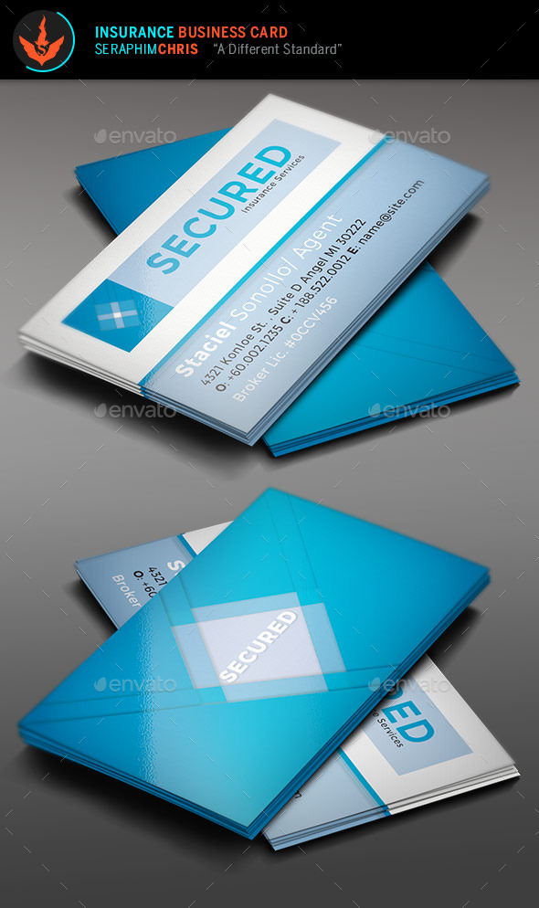 Secured: Insurance Business Card Template - Corporate Business Cards