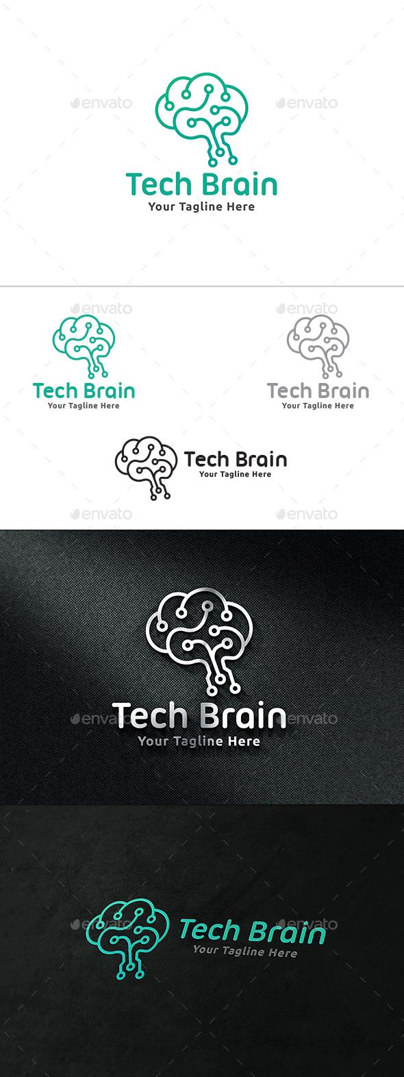 Tech Brain Logo - Symbols Logo Templates