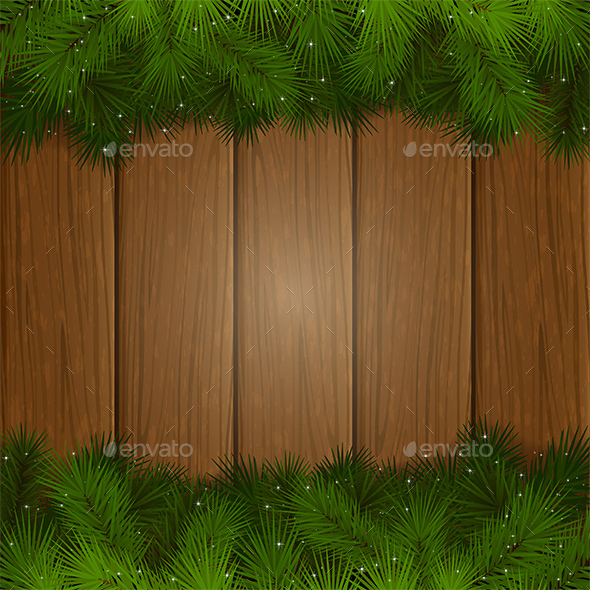 Fir Tree Branches on a Wooden Background - Christmas Seasons/Holidays