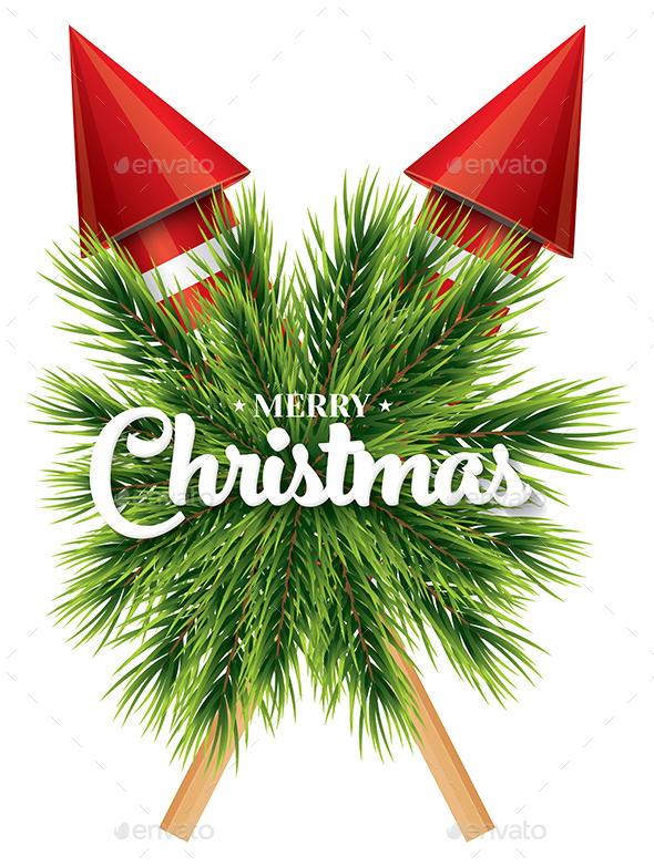 Christmas Card with Pine Branch and Red Rockets - Christmas Seasons/Holidays