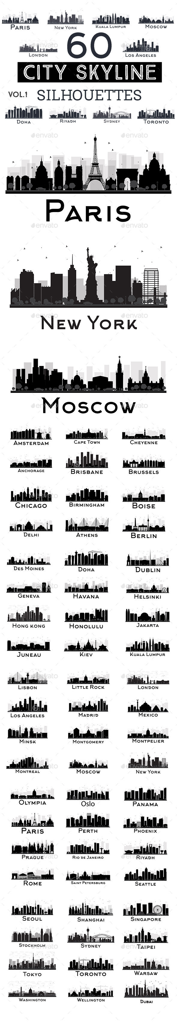60 City Skyline Silhouettes Set - Buildings Objects