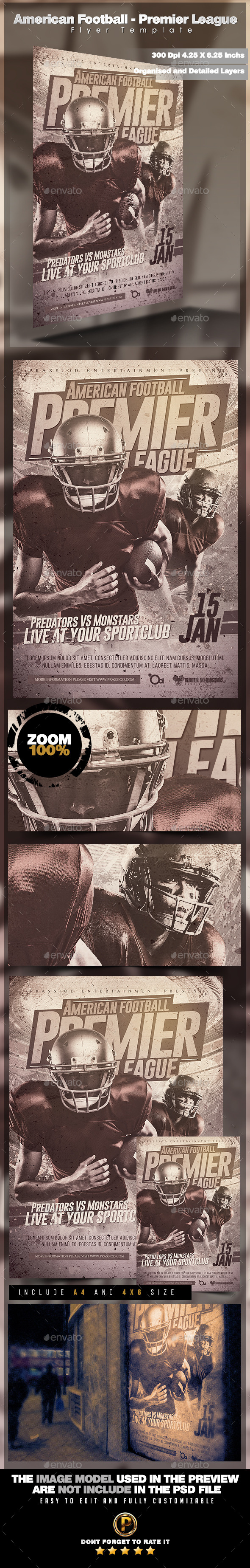 American Football - Premier League Flyer Template - Sports Events