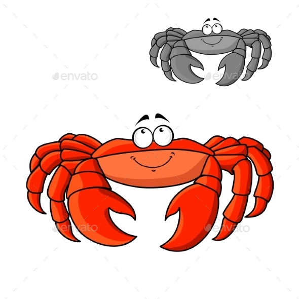 Cartoon Smiling Red Crab With Big Claws - Animals Characters