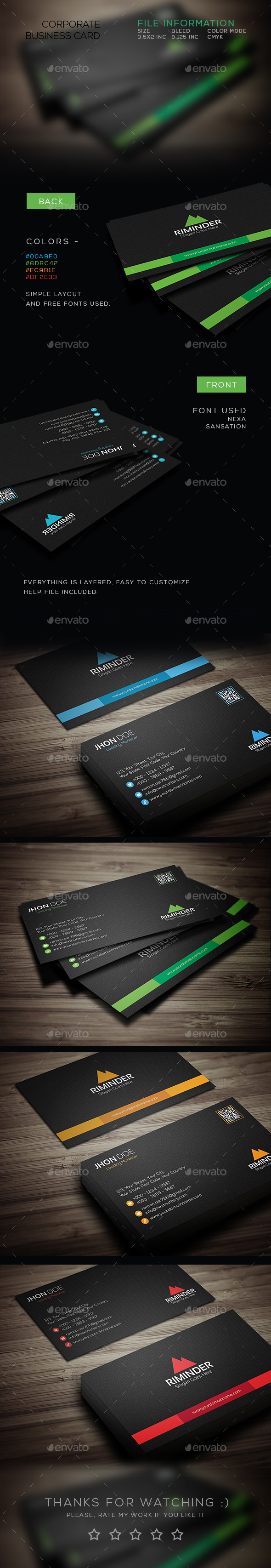 Black Minimal Business Card - Business Cards Print Templates