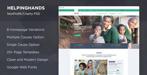 HelpingHands – NonProfit/Charity PSD