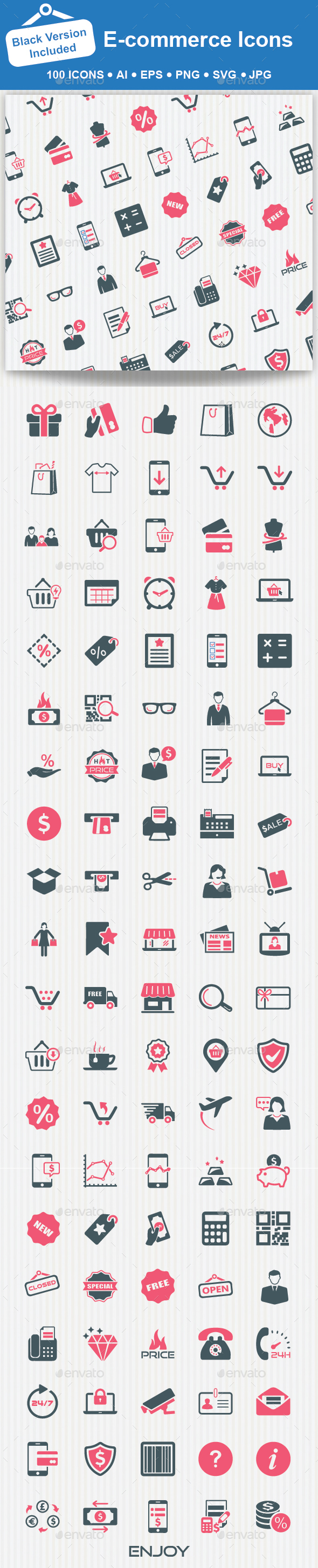 100 E-commerce Icons - Web Icons