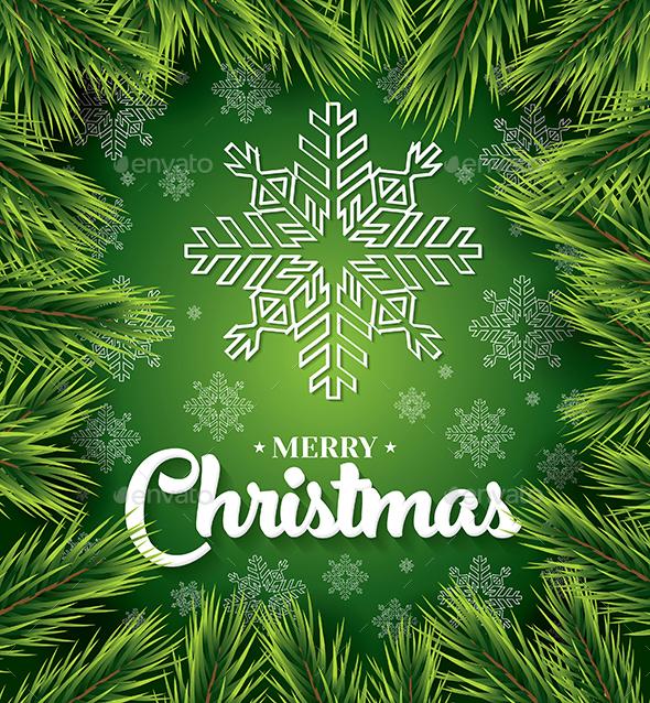 Christmas Card with White Snowflakes on Green - Christmas Seasons/Holidays