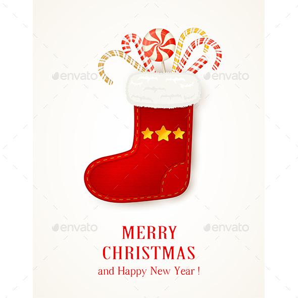 Christmas Sock with Stars and Candy Canes - Christmas Seasons/Holidays