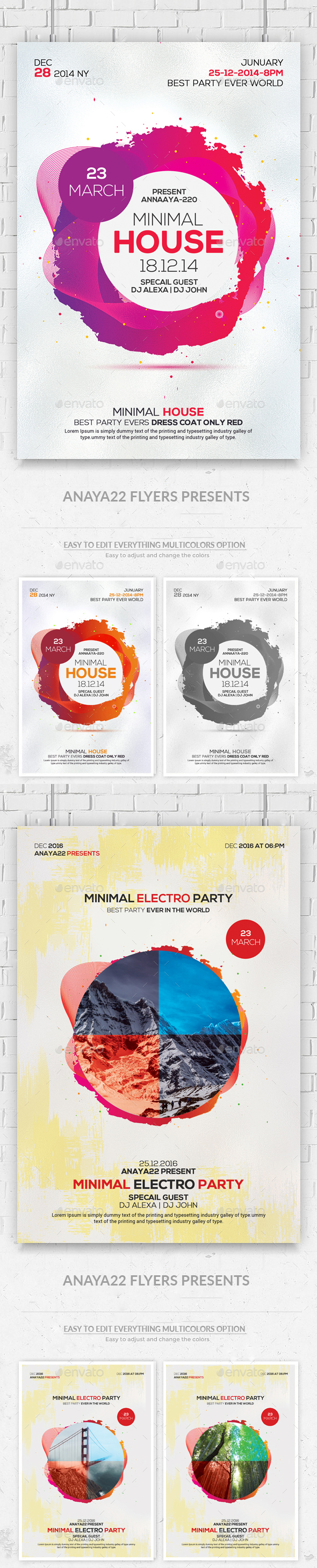 Minimal Flyers Bundle - Clubs & Parties Events