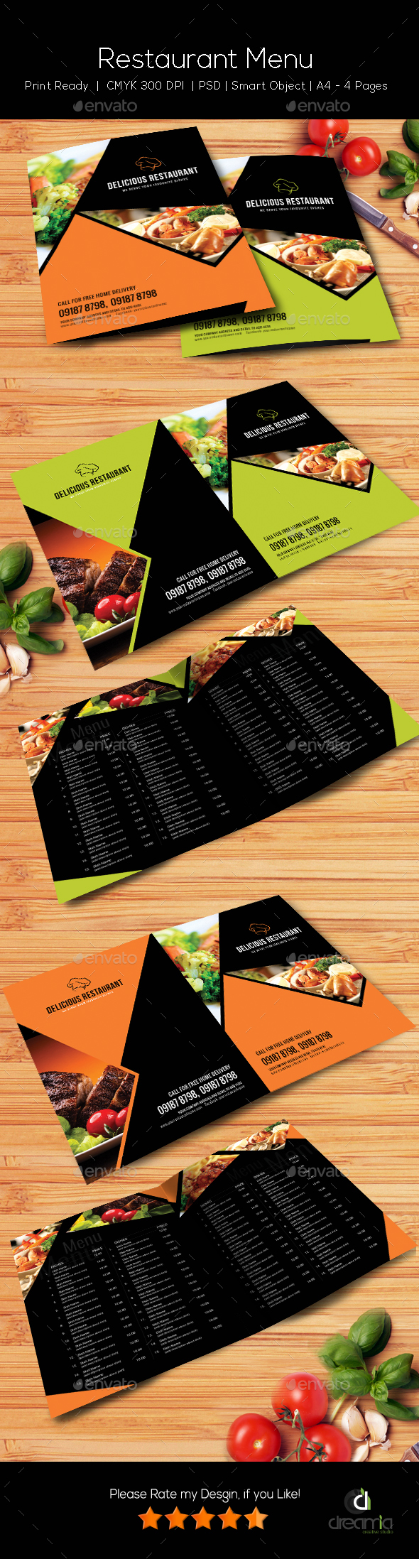 Restaurant Menu Template - Vol4 - Food Menus Print Templates