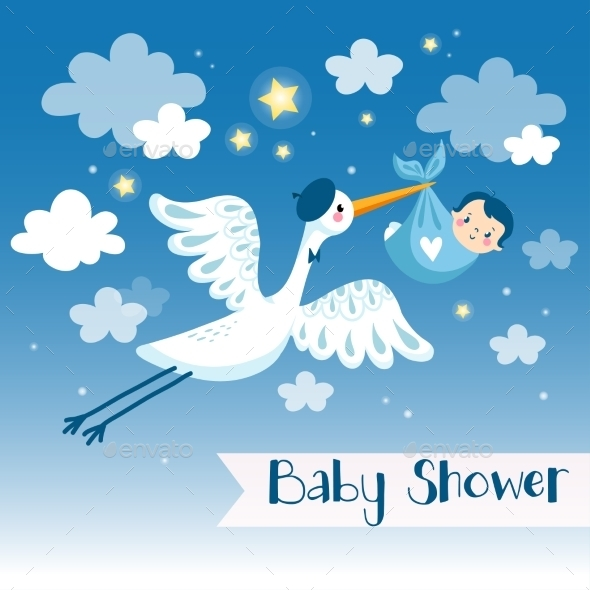 Baby Boy Shower Invitation Card With Stork. - Birthdays Seasons/Holidays