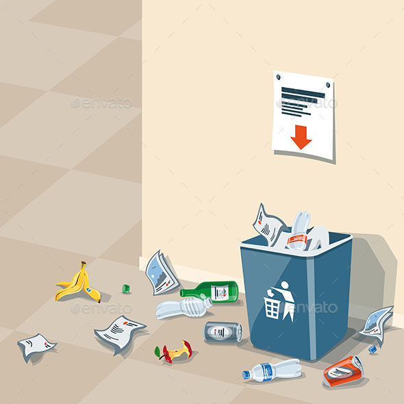 Littering Garbage around the Trash Bin - Objects Vectors