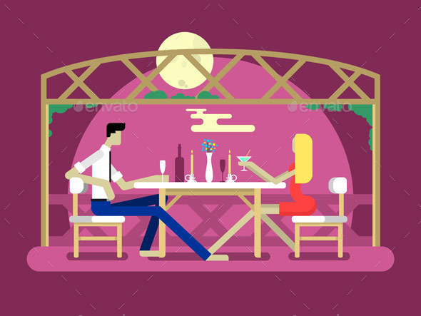 Romantic Date Design - People Characters