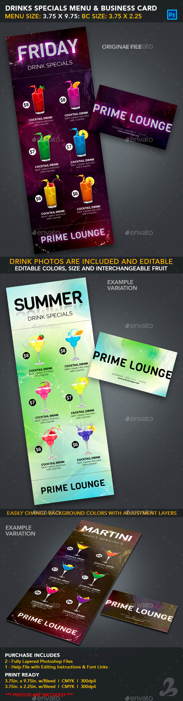 Drink Specials Menu & Business Card Template 1 by CreativB ...