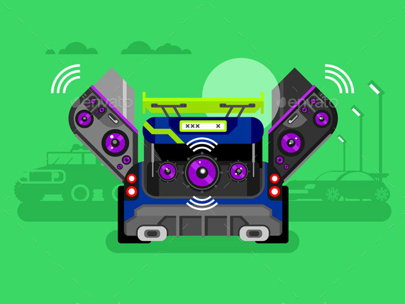 Car Audio System - Backgrounds Decorative