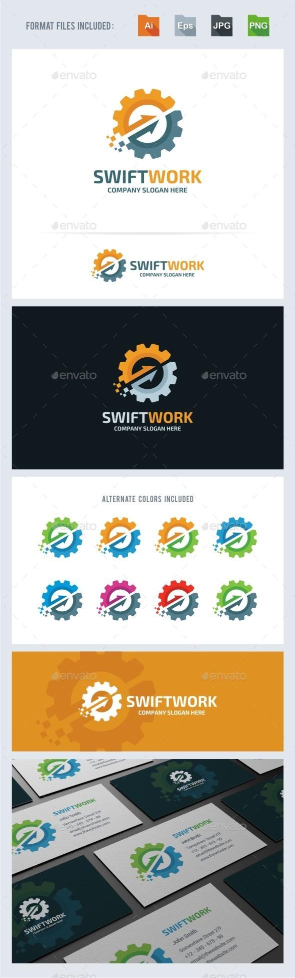 Swift Work - Gear Logo Template - Symbols Logo Templates