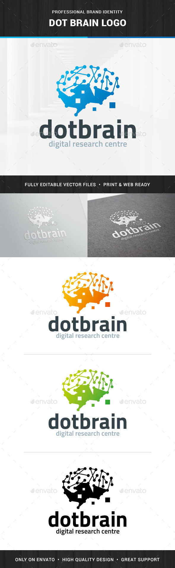 Dot Brain Logo Template - Humans Logo Templates