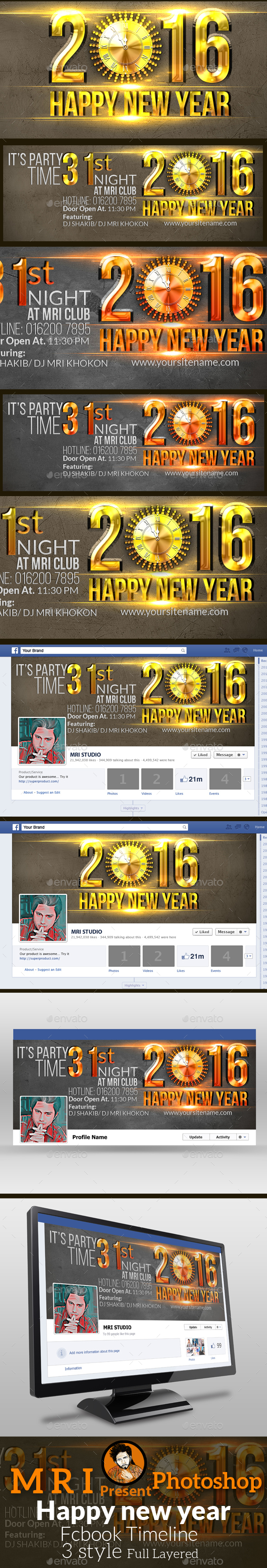 Happy New Year Facebook Timeline - Social Media Web Elements
