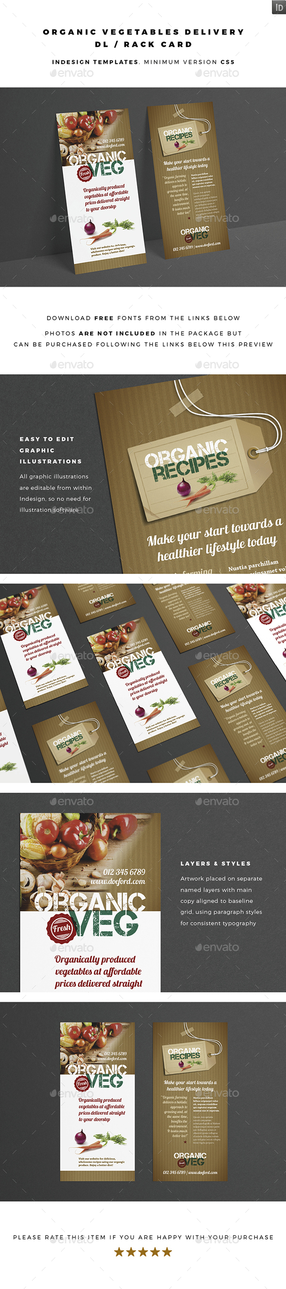 DL / Rack Card - Organic Vegetables Delivery - Flyers Print Templates