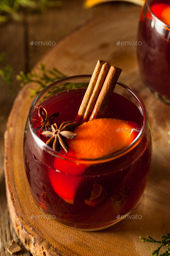 Spiced Mulled Wine with Oranges - Stock Photo - Images