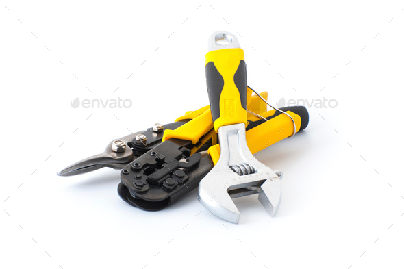 Hand tools on a white background. - Stock Photo - Images