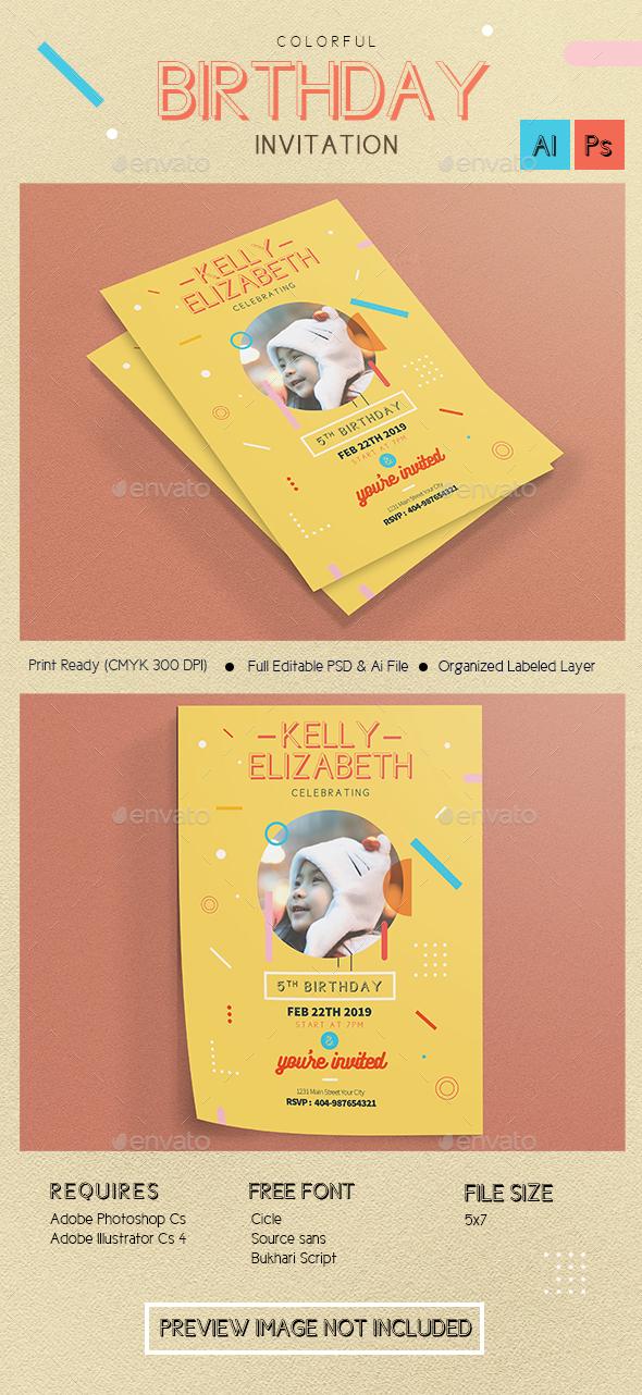 Colorfull Birthday Invitation/flyer - Birthday Greeting Cards