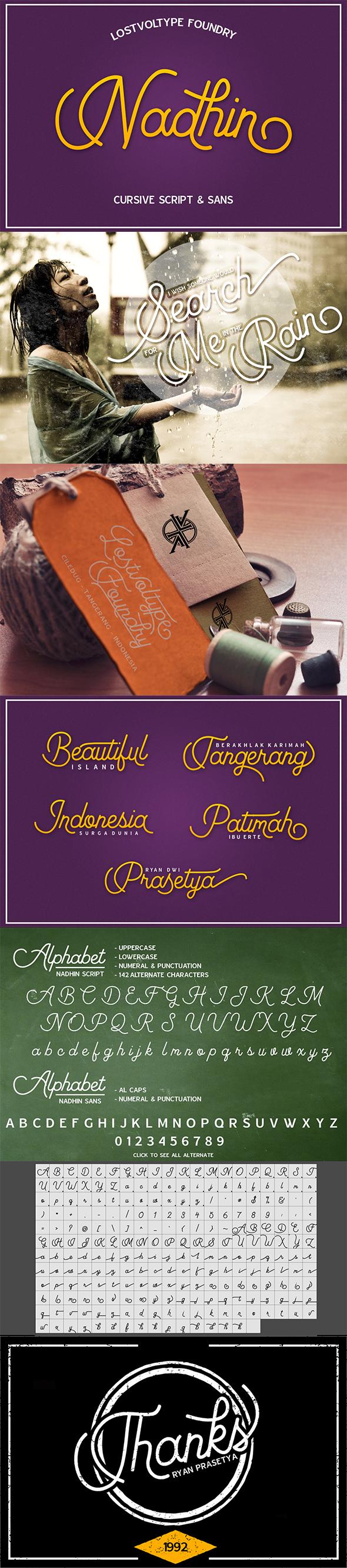 Nadhin Script & Sans - Script Fonts