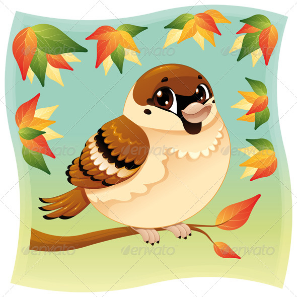 Sparrow on a branch - Animals Characters