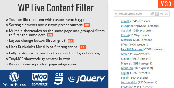 WP Live Content Filter - CodeCanyon Item for Sale