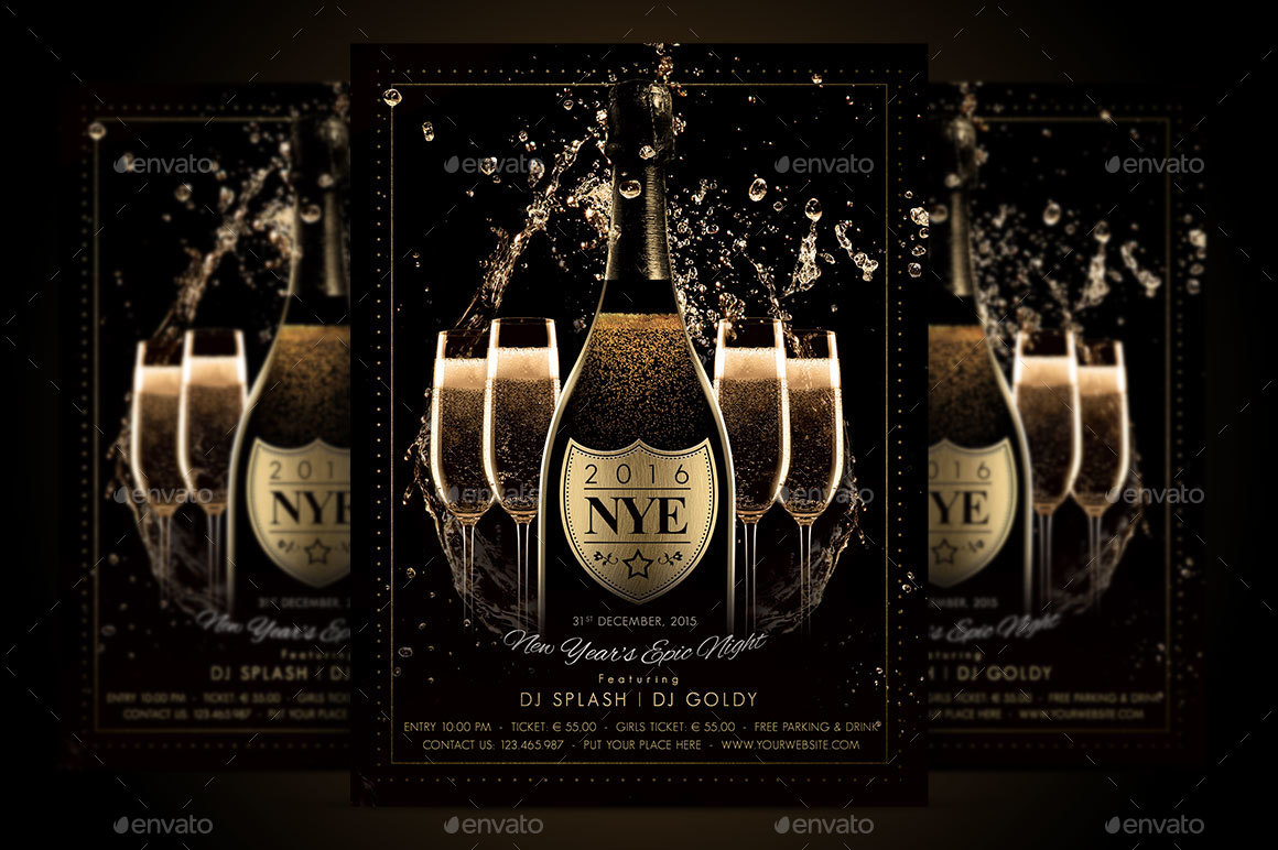 nye new years eve champagne flyer by serenasorrenti graphicriver