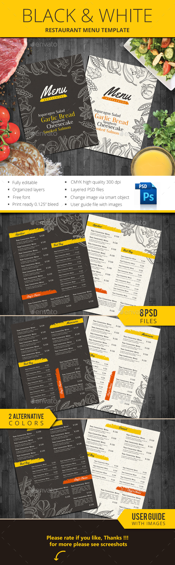 Black & White Restaurant Menu - Food Menus Print Templates
