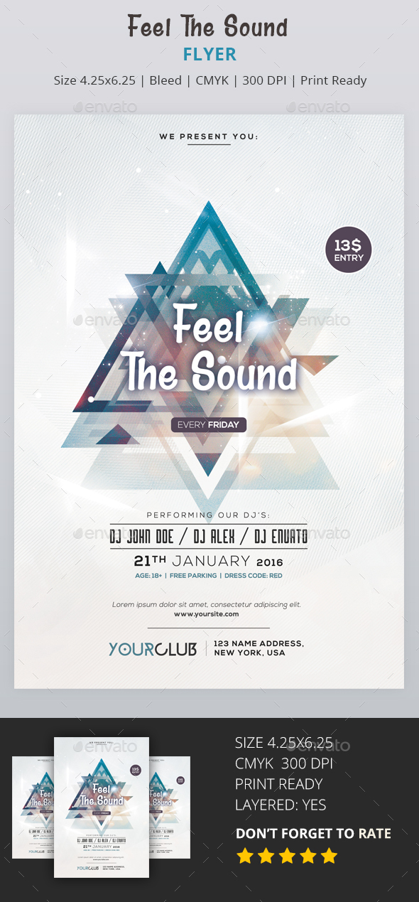 Feel the Sound - PSD Flyer - Flyers Print Templates
