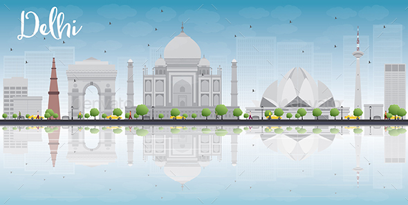 Delhi Skyline with Gray Landmarks - Buildings Objects