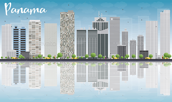 Panama City Skyline with Gray Skyscrapers - Buildings Objects