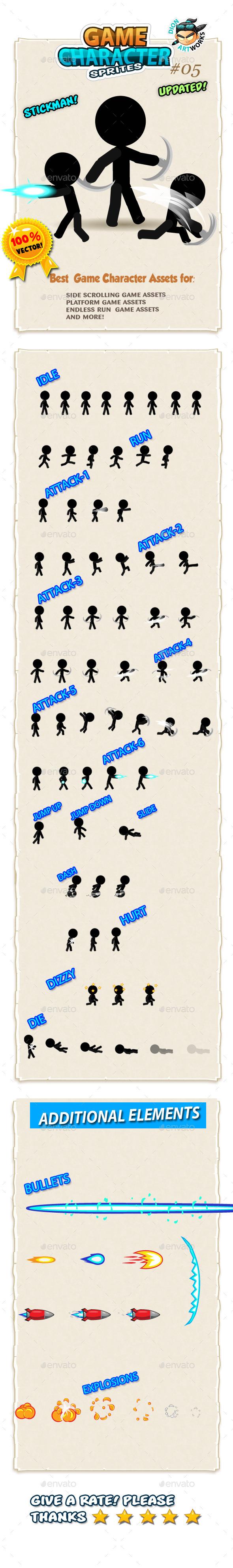 Stickman Character Sprites 05 - Sprites Game Assets