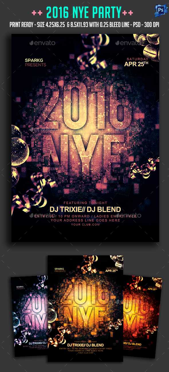 Nye 2016 Party Flyer - Clubs & Parties Events