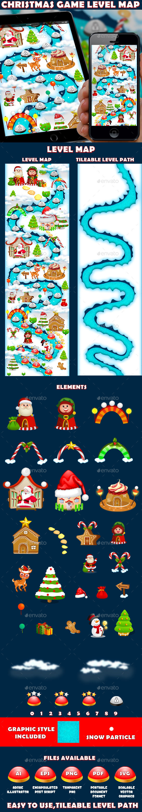 Christmas Candy Game UI Level Map - User Interfaces Game Assets