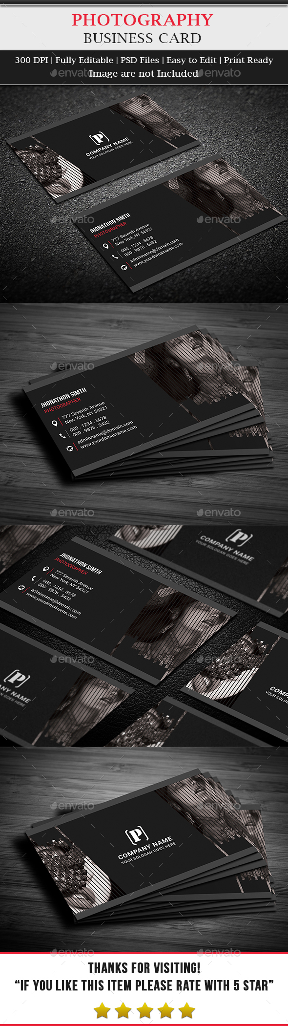 Fashion Photography Business Card - Business Cards Print Templates