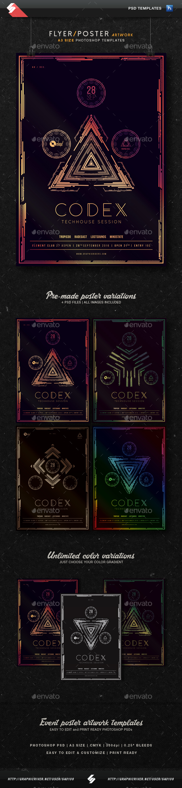 Codex - Techhouse Party Flyer Templates A3 - Clubs & Parties Events