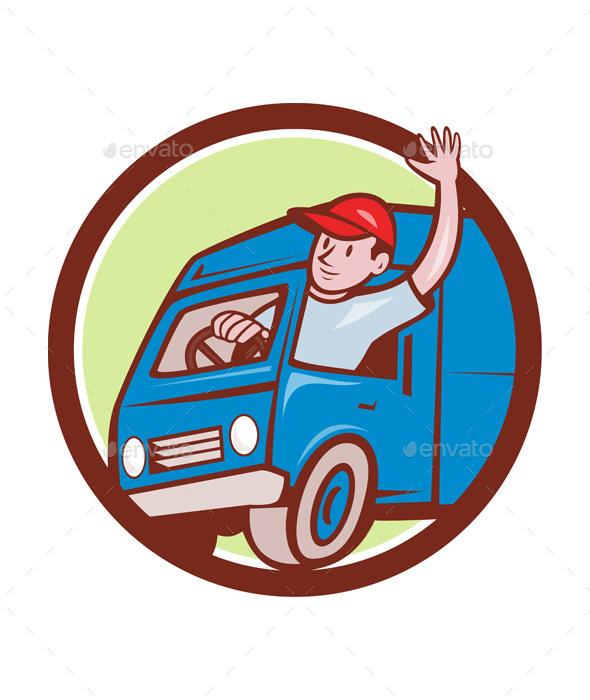 Delivery Man Waving Driving Van Circle Cartoon - People Characters
