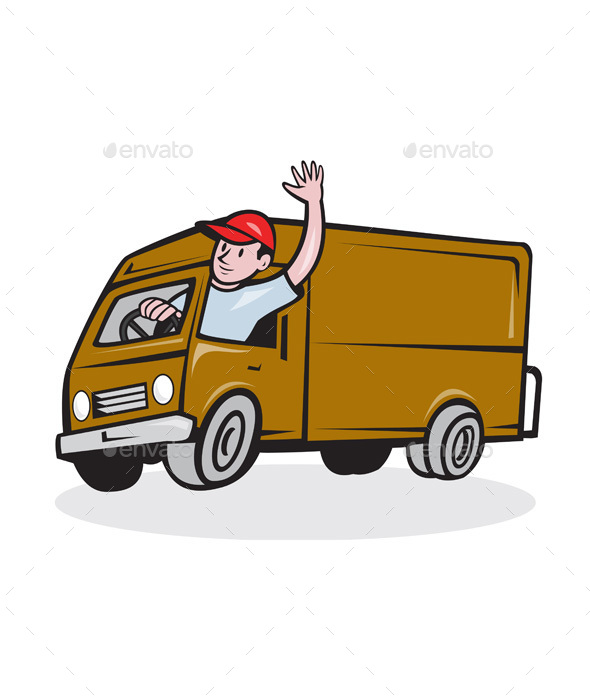 Delivery Man Waving Driving Van Cartoon - People Characters