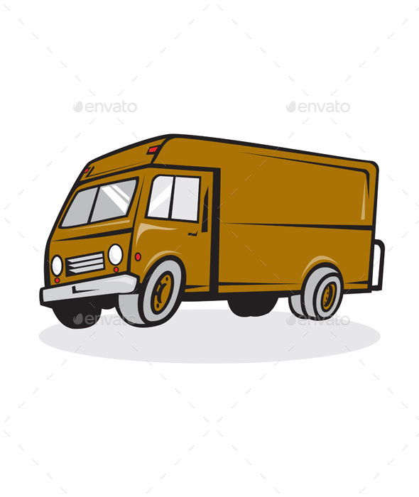 Delivery Van Side Isolated Cartoon - Travel Conceptual