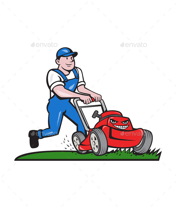 Gardener Mowing Lawn Mower Cartoon - People Characters