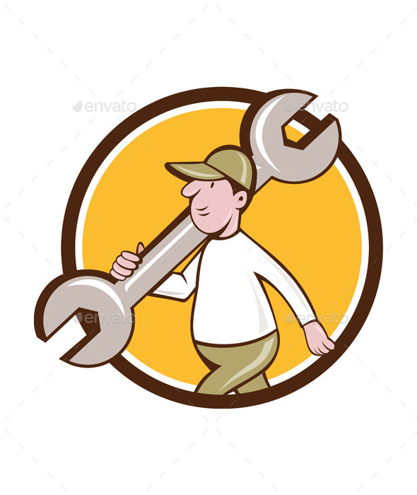 Mechanic Monkey Wrench Walking Circle Cartoon - People Characters