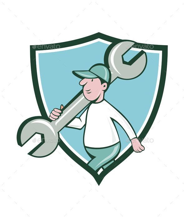 Mechanic Monkey Wrench Walking Crest Cartoon - People Characters