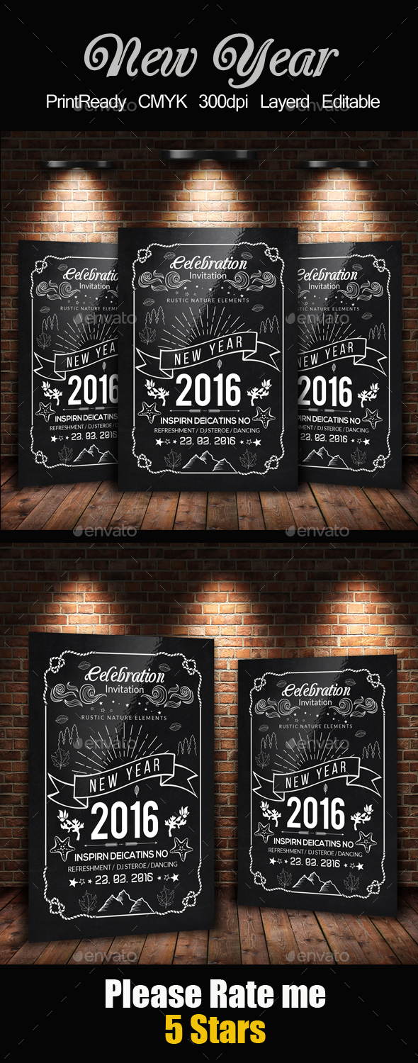 New Year Chalkboard Flyer Template - Holidays Events