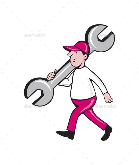 Mechanic Monkey Wrench Walking Cartoon - People Characters