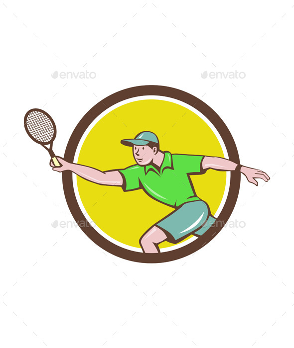 Tennis Player Racquet Forehand Circle Cartoon - Sports/Activity Conceptual