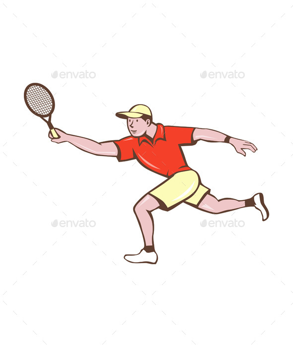 Tennis Player Racquet Forehand Cartoon - Sports/Activity Conceptual